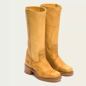 Frye campus 14L leather knee high yellow boots